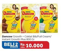 Promo Harga DANCOW FortiGro Susu Bubuk Instant Cokelat, Full Cream, Instant per 2 box 800 gr - Carrefour