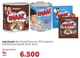 Promo Harga CAP ENAAK Susu Kental Manis Cokelat/Putih 370g / Cokelat / Putih Sachet 12x40gr  - Carrefour