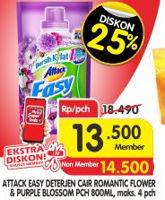 Promo Harga ATTACK Easy Detergent Liquid Romantic Flower, Purple Blossom 800 ml - Superindo
