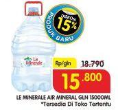 Promo Harga LE MINERALE Air Mineral 15 ltr - Superindo