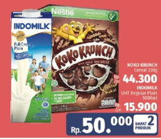 Promo Harga NESTLE KOKO KRUNCH KOKO KRUNCH Cereal 330g + INDOMILK UHT Full Cream Plain 1000ml  - LotteMart