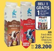 Promo Harga KIN Fresh Milk Full Cream, Chocolate 1000 ml - LotteMart