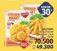 Promo Harga BELFOODS FAVORITE Chicken Nugget / Stick 1 kg - LotteMart
