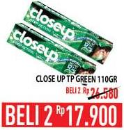 Promo Harga CLOSE UP Pasta Gigi Gel Green per 2 pcs 110 gr - Hypermart
