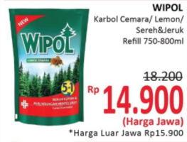 Promo Harga WIPOL Karbol Wangi Cemara, Lemon, Sereh + Jeruk  - Alfamidi