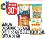 Promo Harga DUA KELINCI DUA KELINCI Sukro 130gr / OISHI 65gr Selected Item / QTELA 60gr  - Hypermart