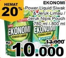 Promo Harga EKONOMI Pencuci Piring Power Liquid Jeruk Nipis, Siwak 780 ml - Giant