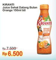 Promo Harga KIRANTI Juice Sehat Datang Bulan Orange 150 ml - Indomaret