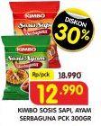 Promo Harga KIMBO KIMBO Sosis Ayam/Sosis Sapi Serbaguna 300gr  - Superindo