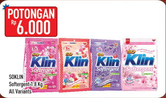 Promo Harga SO KLIN Softergent All Variants 1800 gr - Hypermart