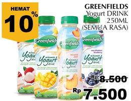Promo Harga GREENFIELDS Yogurt Drink All Variants 250 ml - Giant