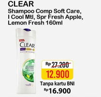 Promo Harga CLEAR Shampoo Complete Soft Care, Ice Cool Menthol, Lemon Fresh, Super Fresh Apple 160 ml - Alfamart
