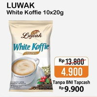 Promo Harga LUWAK White Koffie per 10 sachet 20 gr - Alfamart