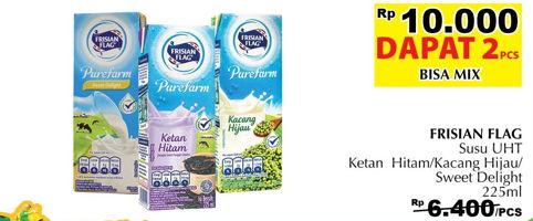 Promo Harga FRISIAN FLAG Susu UHT Purefarm Ketan Hitam, Kacang Hijau, Sweet Delight per 2 box 225 ml - Giant