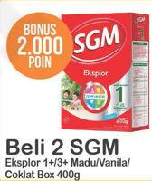 Promo Harga SGM Eksplor 1+/ 3+ Madu, Vanilla, Coklat per 2 box 400 gr - Alfamart