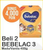Promo Harga BEBELAC 3 Susu Pertumbuhan Madu, Vanila per 2 box 400 gr - Alfamart