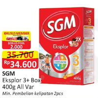 Promo Harga SGM Eksplor 3+ Susu Pertumbuhan All Variants 400 gr - Alfamart