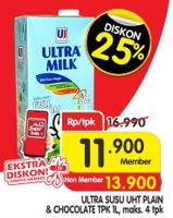 Promo Harga ULTRA MILK Susu UHT Full Cream, Coklat 1000 ml - Superindo