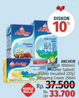 Promo Harga ANCHOR Milk 1000ml / Butter Salted / Unsalted 227gr / Whipping Cream 250ml  - LotteMart