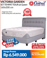 Promo Harga CENTRAL SPRING BED Victoria Garden Complete Bed Set 160x200cm  - Courts