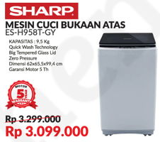 Promo Harga SHARP ES-H958T-GY | Mesin Cuci  - Courts