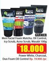 Promo Harga GARNIER MEN Facial Wash Matcha, Icy Scrub, AcnoFight Foam, Wasabi 100 ml - Hari Hari