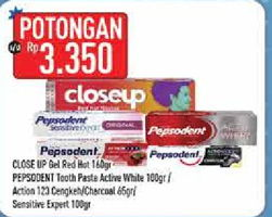 Promo Harga CLOSE UP CLOSE UP Pasta Gigi Gel Deep Action Red Hot/PEPSODENT Action 123 Cengkeh/Toothpaste Action 123 Charcoal/Sensitive Expert  - Hypermart
