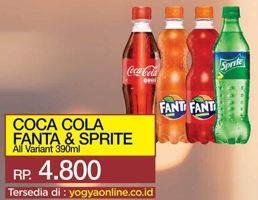 Promo Harga Coca Cola/Fanta/Sprite All Variants 390 ml - Yogya