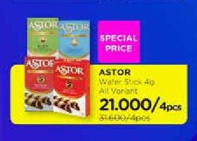 Promo Harga ASTOR Wafer Roll per 4 pcs 40 gr - Watsons