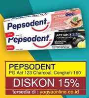 Promo Harga PEPSODENT PEPSODENT Toothpaste Action 123 Charcoal/Cengkeh  - Yogya