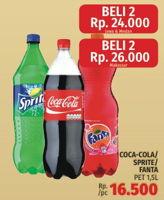 Promo Harga Coca Cola/Fanta/Sprite per 2 pet 1500 ml - LotteMart