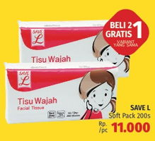 Promo Harga SAVE L Tisu Wajah Soft Pack 200 pcs - LotteMart