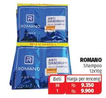 Promo Harga ROMANO Romano Shampoo Classic Strong Shiny/Force Anti Dandruff per 12 pcs 10 gr - Lotte Grosir