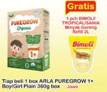 Promo Harga ARLA Puregrow Organic 1+ Boys, Girls 360 gr - Indomaret