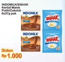 Promo Harga INDOMILK Indomilk / Enaak Kental Manis 37gr  - Indomaret