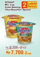 Promo Harga SEDAAP Mie Cup Ayam Bawang Telur, Baso Spesial, Kari Spesial per 2 pcs - Indomaret