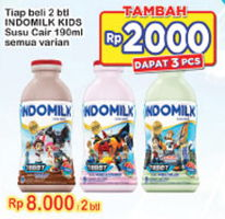 Promo Harga INDOMILK Susu Cair Botol All Variants per 2 botol 190 ml - Indomaret
