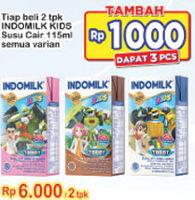 Promo Harga INDOMILK Susu UHT Kids All Variants per 2 pcs 115 ml - Indomaret