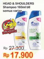 Promo Harga HEAD & SHOULDERS Shampoo All Variants 160 ml - Indomaret