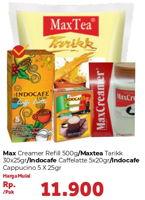 Promo Harga MAX MAX Creamer Refill 500g / MAX TEA Teh Tarik 30x25g / INDOCAFE Caffe Latte 5x20g / INDOCAFE Cappuccino 5x25g  - Carrefour