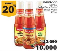 Promo Harga INDOFOOD Sambal Pedas, Ekstra Pedas, Pedas Manis 335 ml - Giant