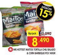 Promo Harga MR HOTTEST Maitos Tortilla Chips Chilli Balado, Jagung BBQ 140 gr - Superindo