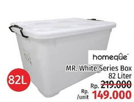 Promo Harga HOMEQUE Mr. White Series Container 82 ltr - LotteMart