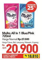 Promo Harga MOLTO All in 1 Blue, Pink 720 ml - Carrefour