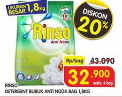Promo Harga RINSO Anti Noda Detergent Bubuk 1800 gr - Superindo