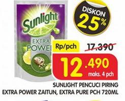 Promo Harga SUNLIGHT Pencuci Piring Extra Power Butiran Biji Zaitun, Extra Pure Ekstrak Aloe Vera Garam Mineral 720 ml - Superindo