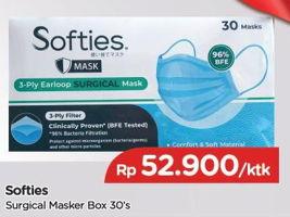 Promo Harga SOFTIES Masker Surgical 30 pcs - TIP TOP