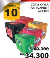 Promo Harga Coca Cola/Fanta/Sprite per 6 kaleng 330 ml - Giant