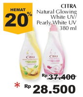 Promo Harga CITRA Hand Body Lotion Natural Glowing White, Pearly White UV 380 ml - Giant