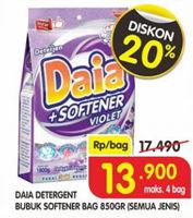 Promo Harga DAIA Deterjen Bubuk + Softener Violet 850 gr - Superindo